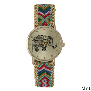 Olivia Pratt Women's Tribal Elephant Braided Band Watch