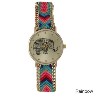 Olivia Pratt Women's Tribal Elephant Braided Band Watch (Option: Multi)