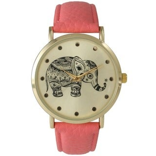 Olivia Pratt Women's Tribal Elephant Faux Leather Band Watch