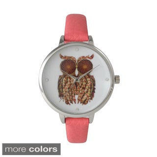 Olivia Pratt Women's Skinny Band Owl Print Watch