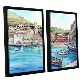 ArtWall Bill Drysdale ' Vernazza' 2 Piece Floater Framed Canvas Set - multi - 24 x 32