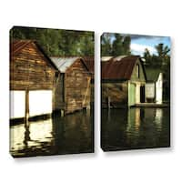 ArtWall Kevin Calkins ' Boathouses On The River 2 Piece ' Gallery-Wrapped Canvas Set - Green/Brown/White