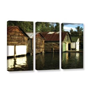 ArtWall Kevin Calkins ' Boathouses On The River 3 Piece ' Gallery-Wrapped Canvas Set