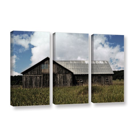 ArtWall Kevin Calkins ' Country 3 Piece ' Gallery-Wrapped Canvas Set - Grey/Blue/White