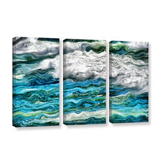 ArtWall Kevin Calkins ' Cresting Waves 2.0 3 Piece ' Gallery-Wrapped Canvas Set