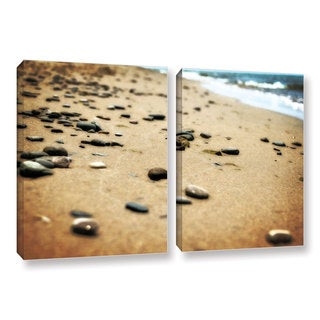 ArtWall Kevin Calkins ' Pebbles And Waves 2 Piece ' Gallery-Wrapped Canvas Set