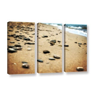 ArtWall Kevin Calkins ' Pebbles And Waves 3 Piece ' Gallery-Wrapped Canvas Set