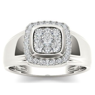 De Couer 10k White Gold 1/2ct TDW Diamond Men's Ring (H-I, I2)