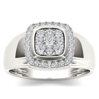 De Couer 10k White Gold 1/2ct TDW Diamond Men's Ring - White H-I
