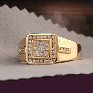 De Couer 10k Yellow Gold 1/2ct TDW Diamond Men's Cluster Ring