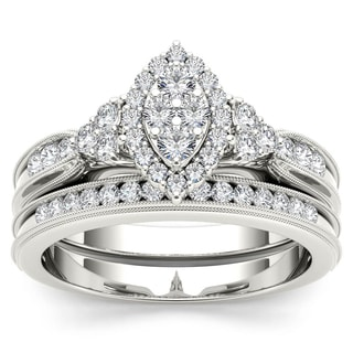 De Couer 10k White Gold 1/2ct TDW Diamond Marquise-framed Halo Engagement Ring Set