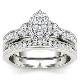 De Couer 10k White Gold 1/2ct TDW Diamond Marquise-framed Halo Engagement Ring Set - White H-I|https://ak1.ostkcdn.com/images/products/10332958/P17443372.jpg?impolicy=medium