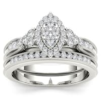 De Couer   IGI Certified  10k White Gold 1/2ct TDW Diamond Marquise-framed Halo Engagement Ring Set - White H-I