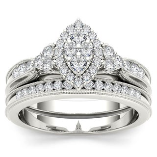 De Couer 10k White Gold 1/2ct TDW Diamond Marquise-framed Halo Engagement Ring Set - White H-I