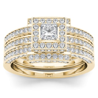 De Couer 14k Yellow Gold 1 1/2ct TDW Diamond Halo Engagement Ring Set with Two Bands (H-I, I2)