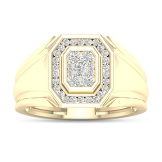 De Couer 10k Yellow Gold 1/2ct TDW Diamond Men's Ring (H-I, I2)