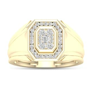 De Couer 10k Yellow Gold 1/2ct TDW Diamond Men's Ring https://ak1.ostkcdn.com/images/products/10332967/P17443375.jpg?impolicy=medium