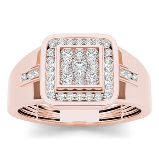 De Couer 10k Rose Gold Men's 1/2ct TDW Diamond Ring (H-I, I1-I2)