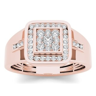 De Couer 10k Rose Gold Men's 1/2ct TDW Diamond Ring - Pink