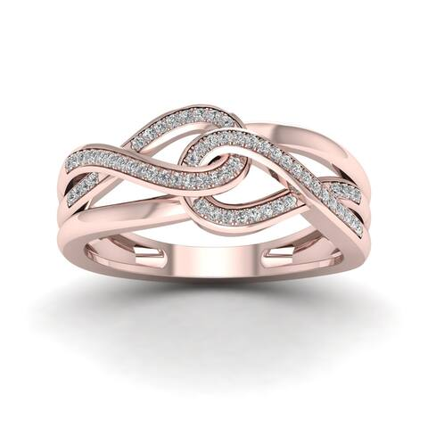 De Couer IGI Certified 10k Rose Gold 1/6ct TDW Diamond Double Infinity Ring - Pink