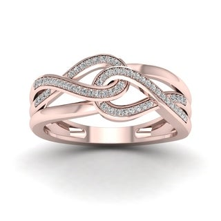 De Couer 10k Rose Gold 1/6ct TDW Diamond Double Infinity Ring - Pink