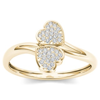 De Couer 10k Yellow Gold 1/20ct TDW Diamond Two Heart Wrap Ring