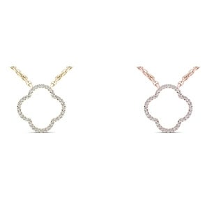 De Couer 10k Gold 1/10ct TDW Diamond Clover Necklace