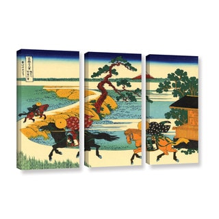 ArtWall Katsushika Hokusai 'The Fields Of Sekiya By The Sumida River ' 3 Piece Gallery-wrapped Canvas Set