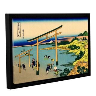 ArtWall Katsushika Hokusai 'The Waterfall Of Amida Behind The Kiso Road' Gallery-wrapped Floater-framed Canvas