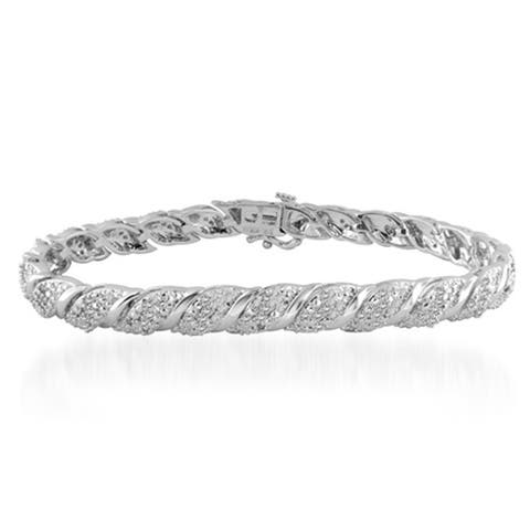 Divina Silver Overlay 1ct TDW Diamond Slant Bracelet - n/a