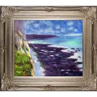 Claude Monet 'Cliff near Dieppe' Hand Painted Framed Canvas Art