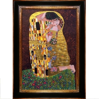 Gustav Klimt 'The Kiss' (Full View - Luxury Line) Hand Painted Framed Canvas Art