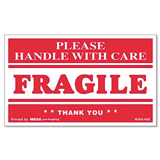 Universal FRAGILE HANDLE WITH CARE Self-Adhesive Shipping Labels (Roll of 500)
