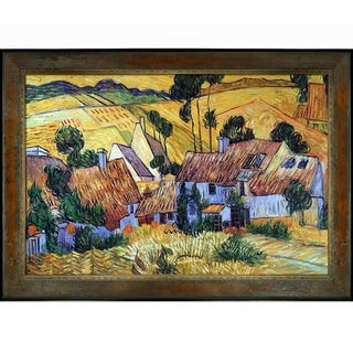 Vincent Van Gogh 'Thatched Houses against a Hill' Hand Painted Framed Canvas Art