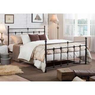 Belinda Shabby Chic Antique Dark Bronze Full/Queen Size Iron Metal Platform Bed