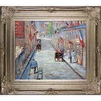 Edouard Manet 'The Rue Mosnier with Flags' Hand Painted Framed Canvas Art