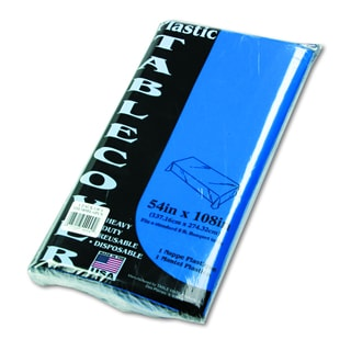 Tablemate Table Set 54 x 108 Rectangular Blue Heavyweight Plastic Table Cover (Pack of 6)