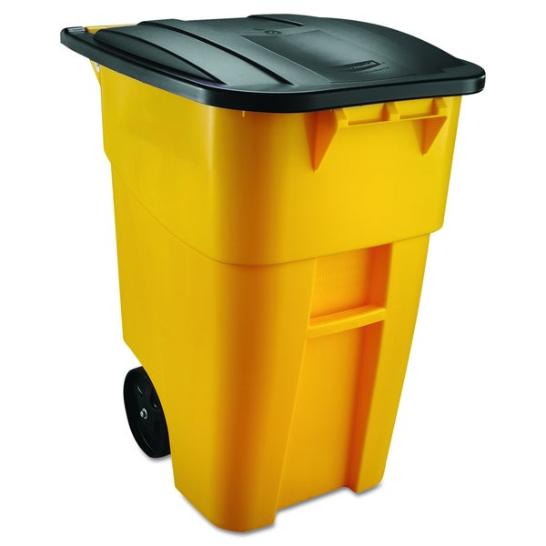 Rubbermaid Commercial Yellow 50 Gal Brute Rollout Plastic Container