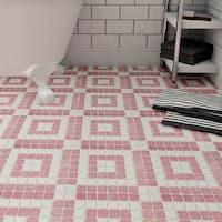 SomerTile 11.75x11.75-inch Scholar Bazaar Flamingo Porcelain Mosaic Floor and Wall Tile (10 tiles/9.79 sqft.)