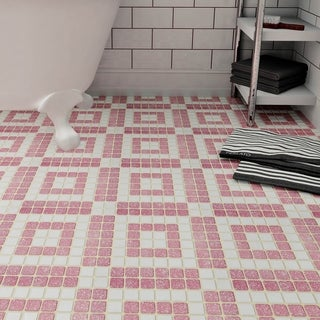SomerTile 11.75x11.75-inch Scholar Bazaar Flamingo Porcelain Mosaic Floor and Wall Tile (10 tiles/9.79 sqft.)
