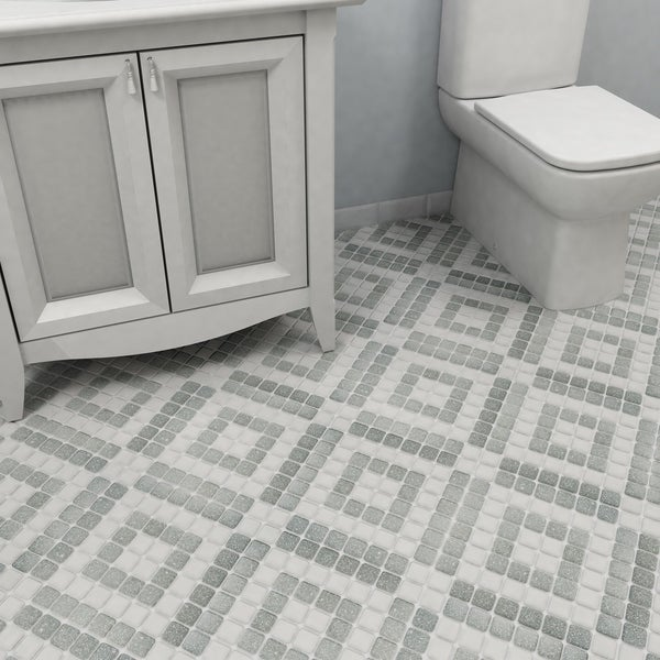 SomerTile 11.75x11.75 Inch Scholar Bazaar Grey Porcelain Mosaic Floor And  Wall Tile