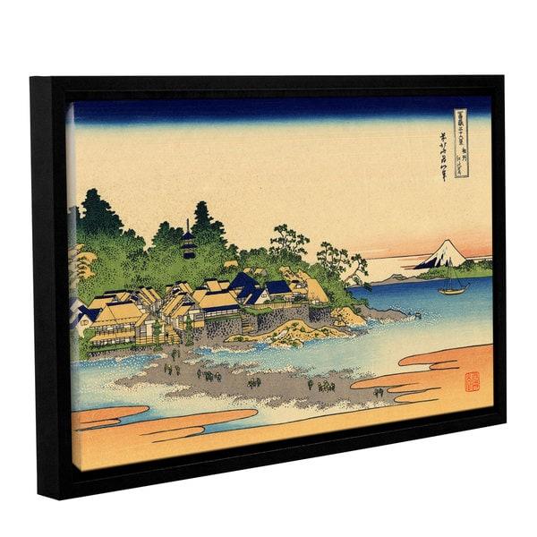 ArtWall Katsushika Hokusai 'Enoshima In The Sagami Province' Gallery-wrapped Floater-framed Canvas