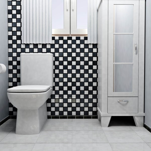 Beau SomerTile 12.5x12.5 Knight Quad Checkerboard Porcelain Mosaic Floor And  Wall Tile (10