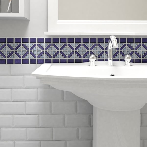SomerTile 12x12.5 Inch Obelisk Cobalt Delta Porcelain Mosaic Floor And Wall  Tile (
