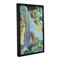ArtWall Katsushika Hokusai 'Ono Waterfall On The Kisokaido' Gallery-wrapped Floater-framed Canvas - Multi