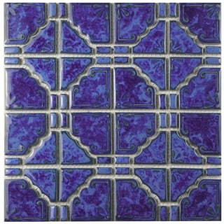 SomerTile 11.75x11.75-inch Callisto Blue Cloud Porcelain Mosaic Floor and Wall Tile (Case of 10)