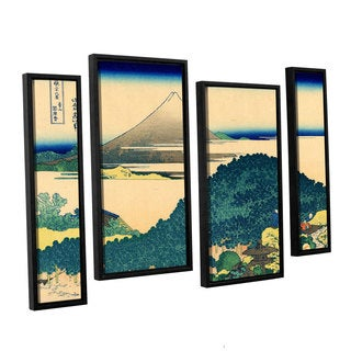 ArtWall Katsushika Hokusai 'The Coast Of Seven Leages In Kamajura' 4 Piece Floater Framed Canvas Staggered Set