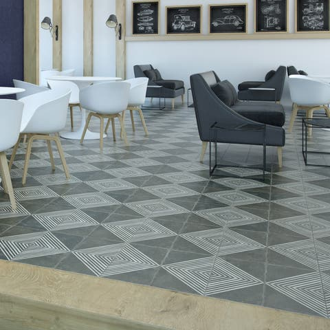 SomerTile 17.63x17.63-inch Royals Rombos Ceramic Floor and Wall Tile (5 tiles/11.02 sqft.)