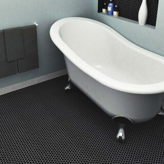 SomerTile 9.75x11.5-inch Victorian Penny Matte Satin Black Porcelain Mosaic Floor and Wall Tile (10 tiles/8 sqft.)