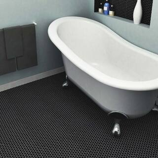 Somertile 9 75x11 5 Inch Victorian Penny Matte Satin Black Porcelain Mosaic Floor And
